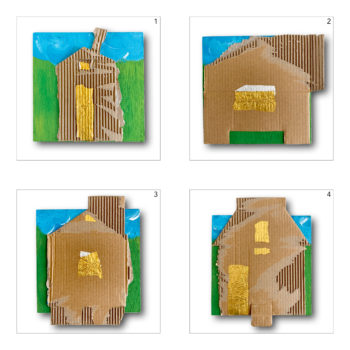 Tiny houses •1, 2, •3 en 4 – mixed media  2020